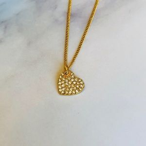 "✨ DKNY Gold  Pavé Heart Pendant Necklace 16"" + 3"""